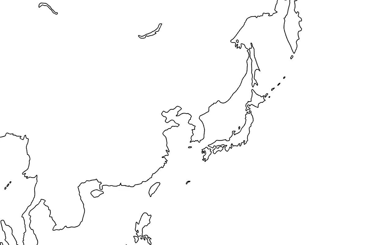 East Asia Map Blank • Mapsof.net