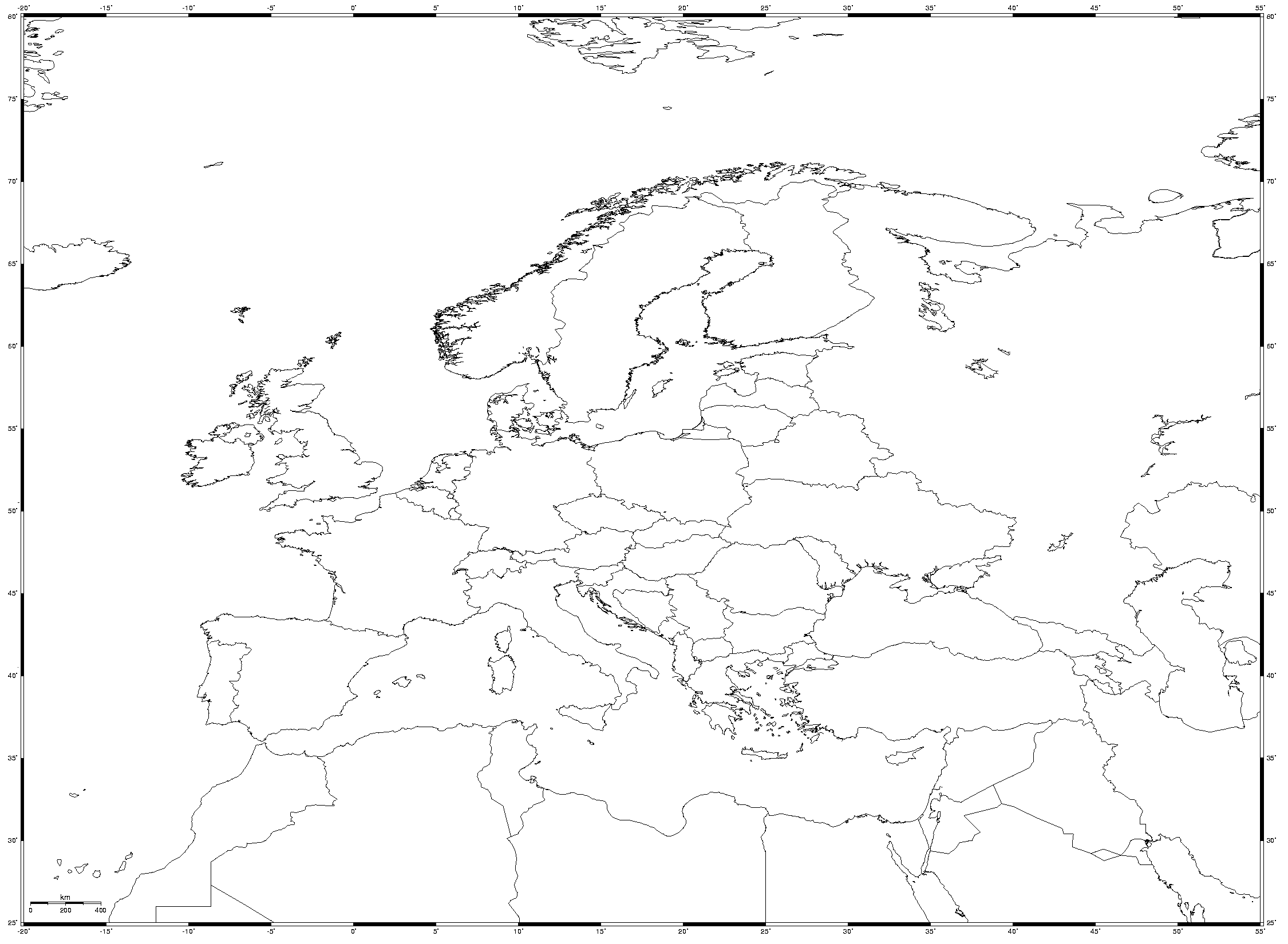 Equidistant Cylindrical Blank Map Of Europe Mapsof