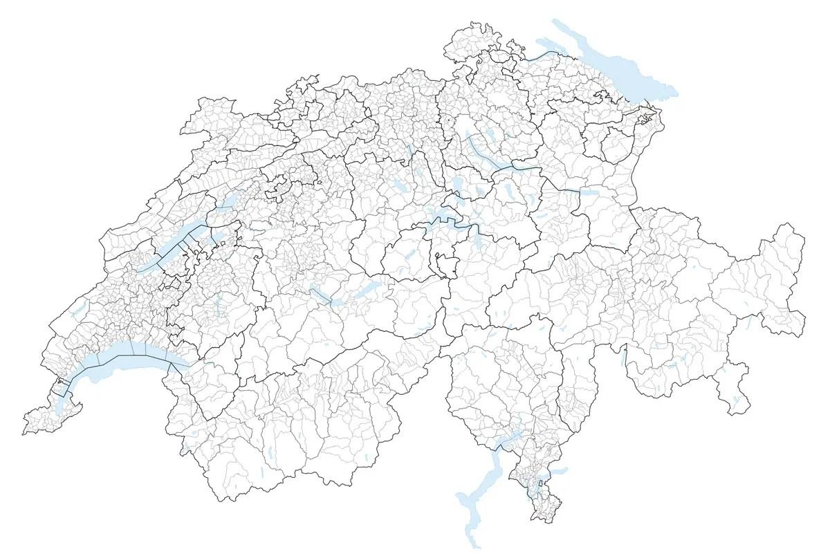 Karte Gemeinden Der Schweiz 2007 • Mapsof.net