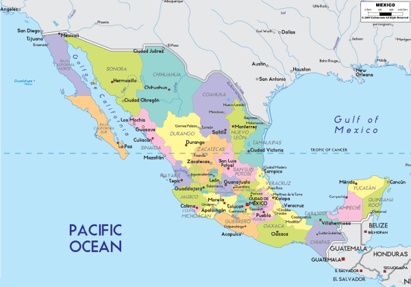 Map Of Mexico States Mapsofnet