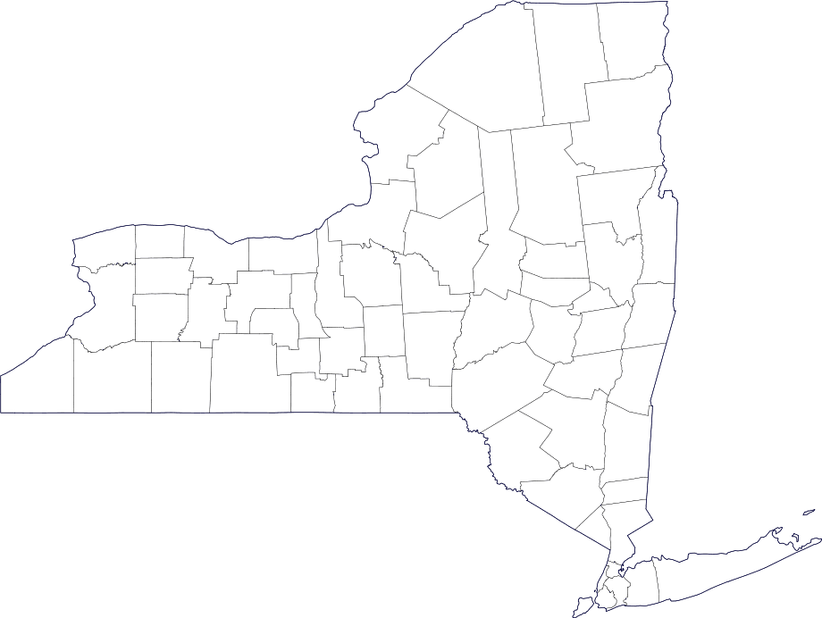 Map of New York County Outlines • Mapsof.net