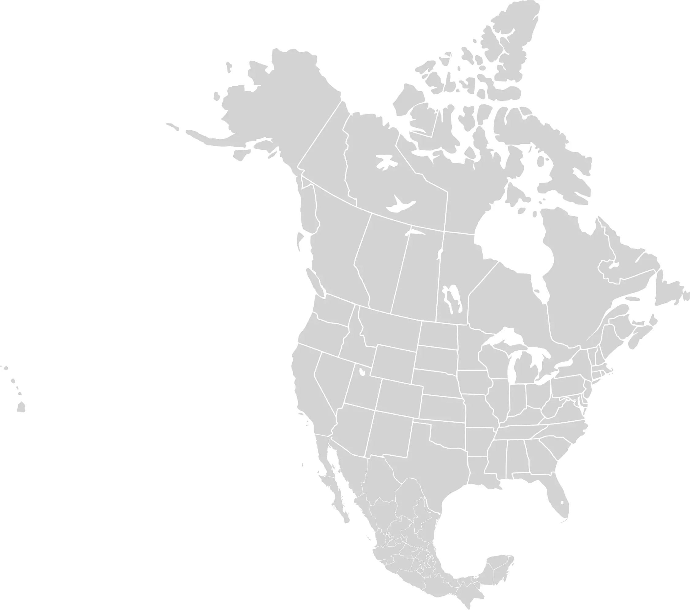North America Blank Range Map Mapsof