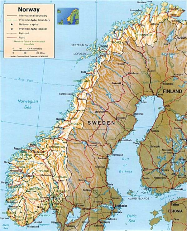 Norway Physical Map Mapsofnet