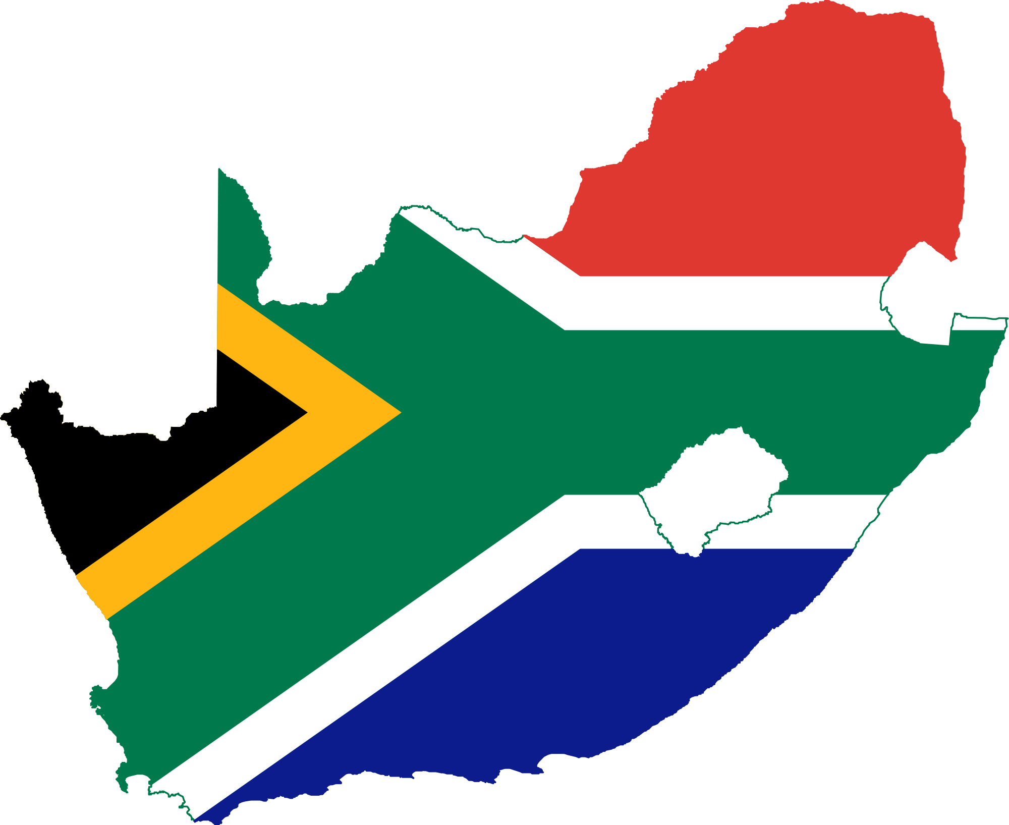South Africa Flag Map Mapsof