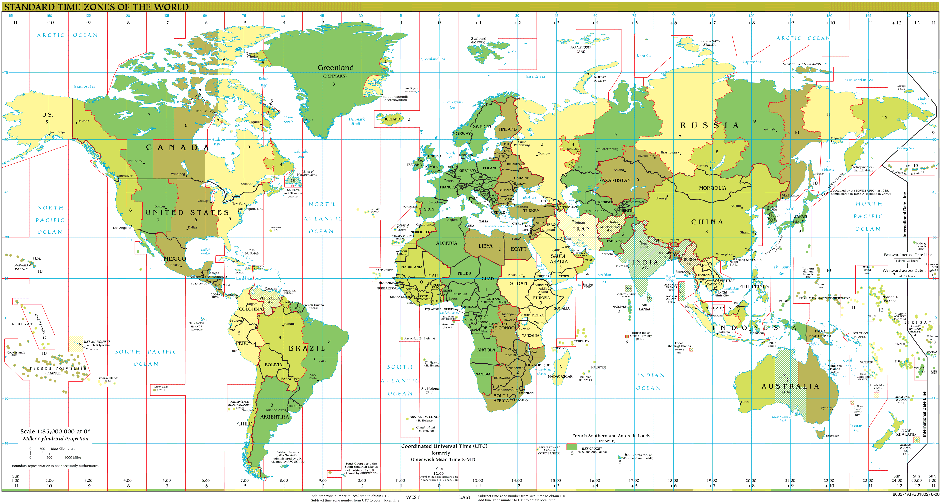 Time Zones Map Large Mapsof