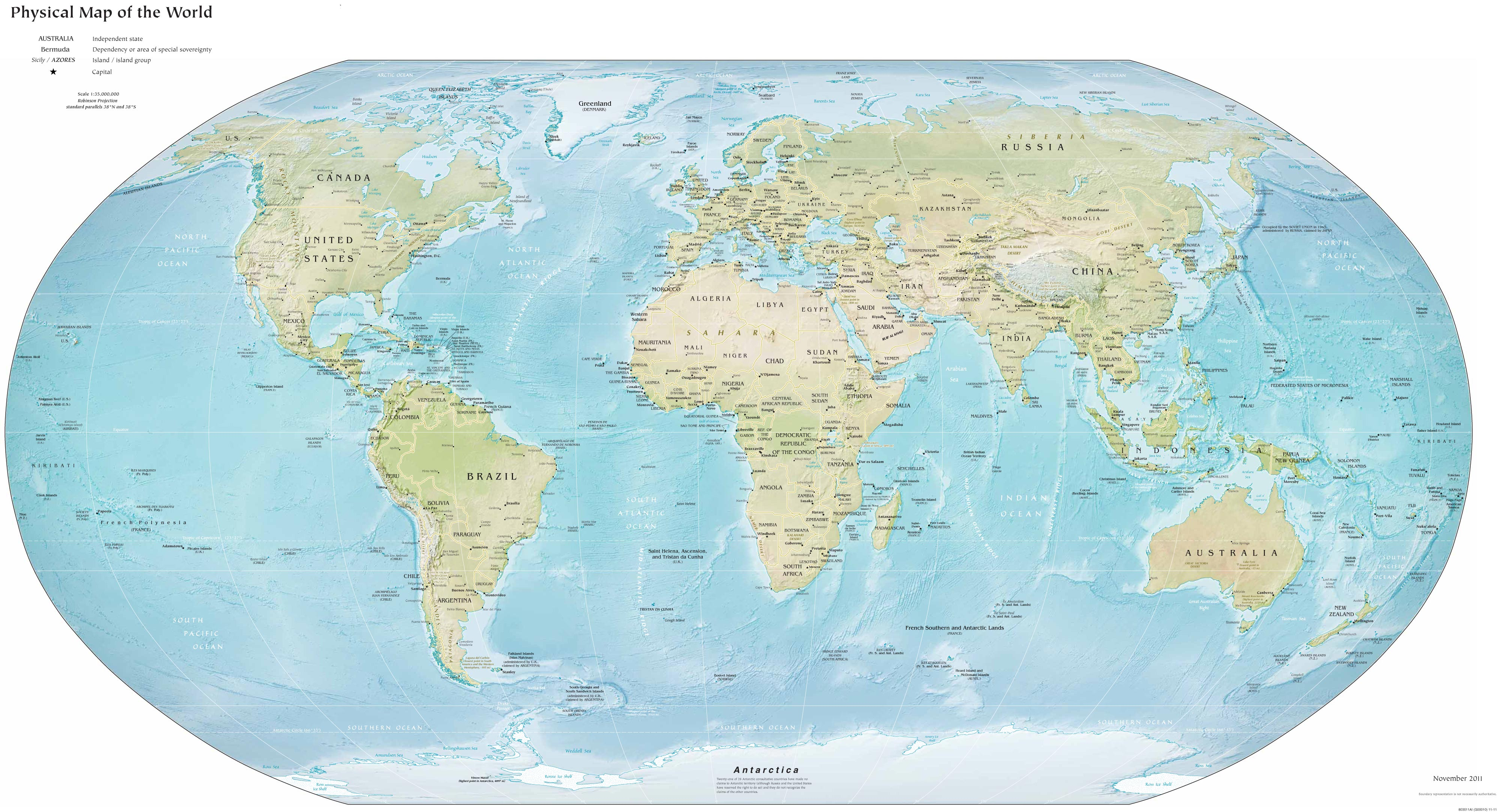 World Physical Map Mapsof