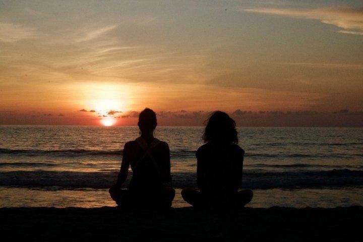 meditating beach