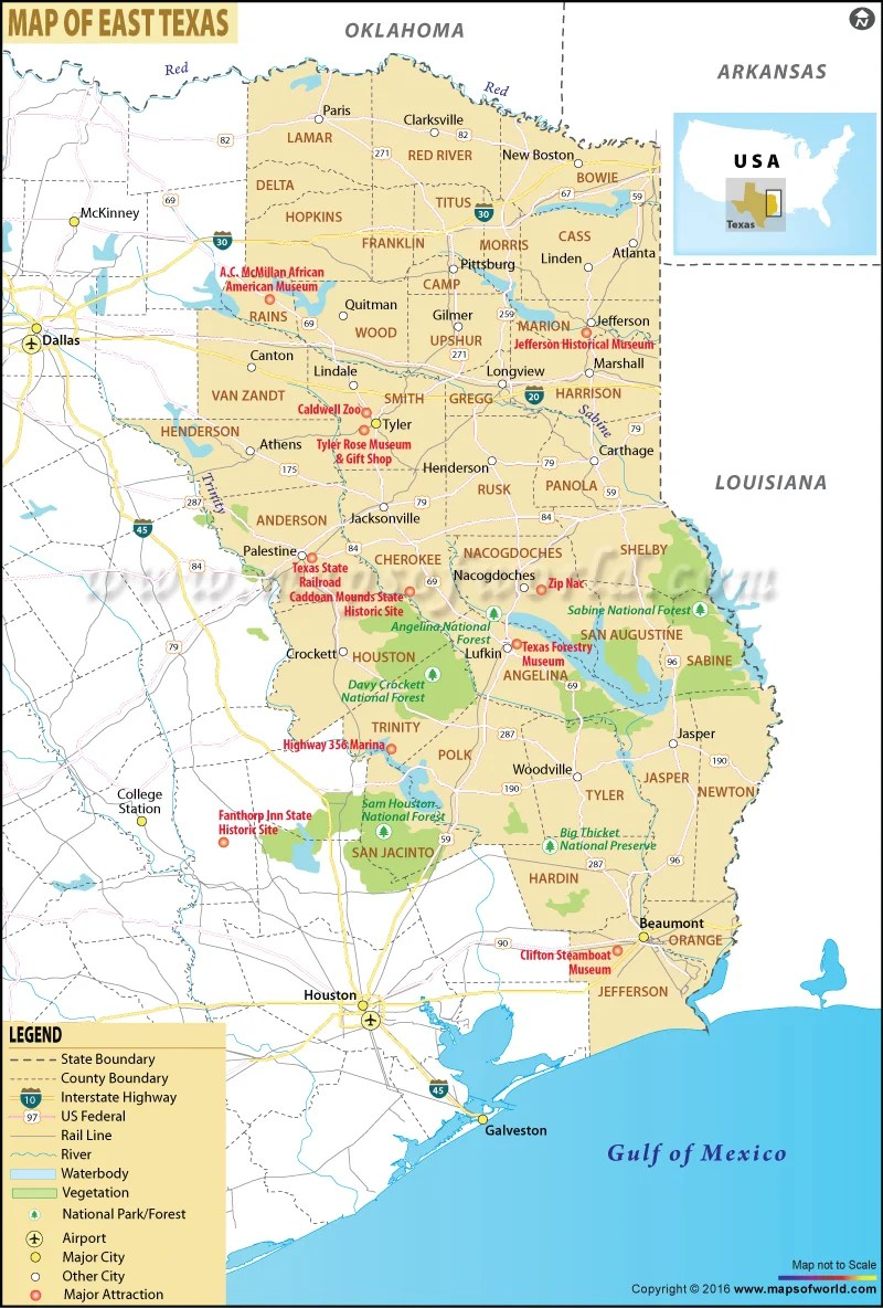 Road Map Of East Texas : texas, Texas,, Texas