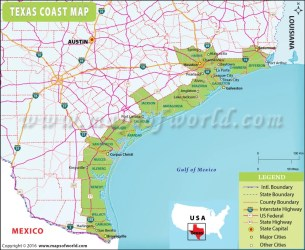 coast texas map counties maps cities showing gulf coastal usa southern region towns bend states highways mexico galveston mapsofworld political