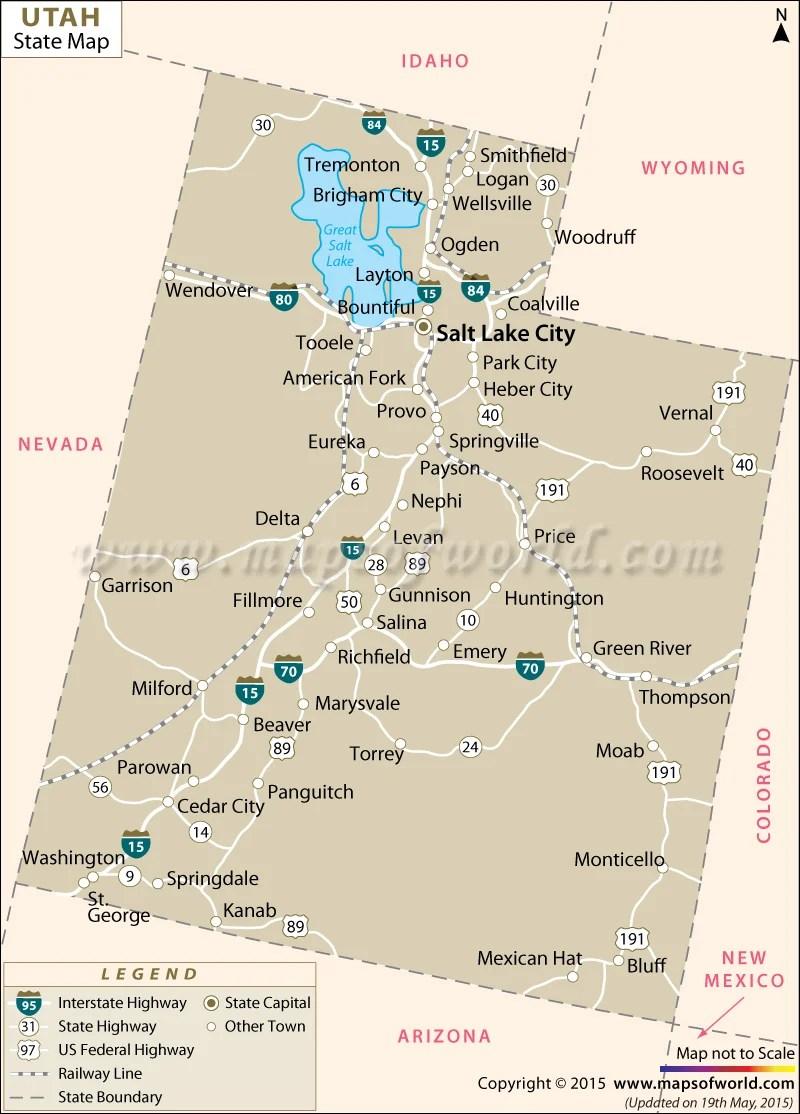 Map Of Utah And Nevada : nevada, State