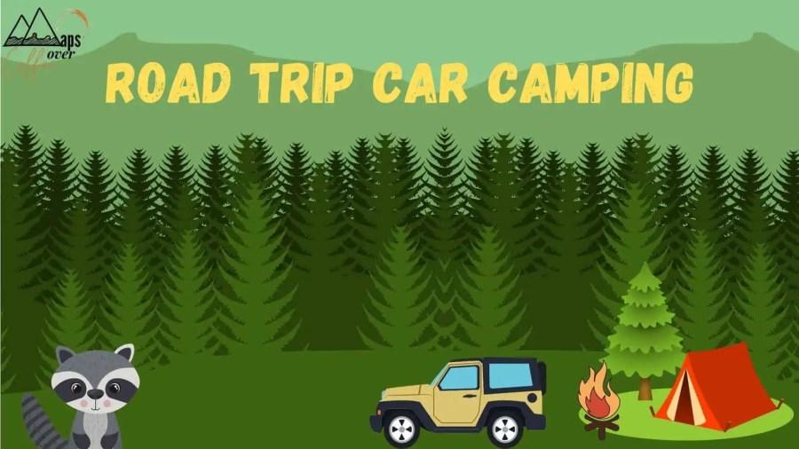 Road trip car camping suv tent campfire raccoon cartoon drawing