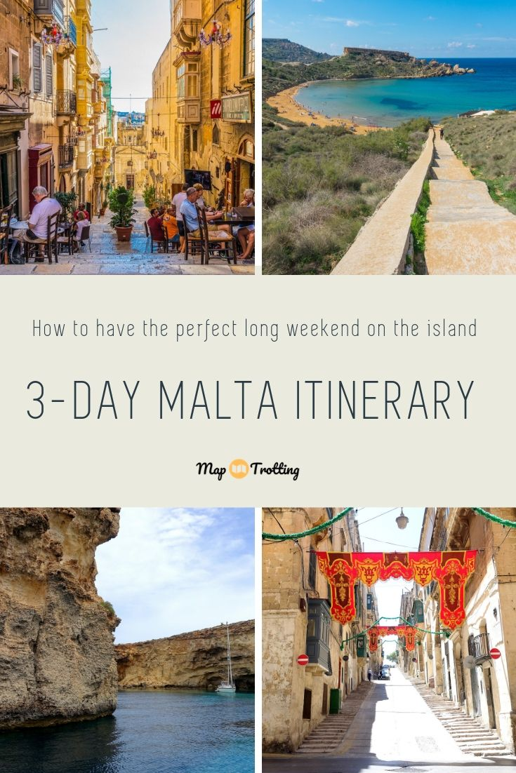 3 days in Malta: the turquoise Tuffieha bay, Valletta streets and a white boat sailing the blue Mediterranean sea.