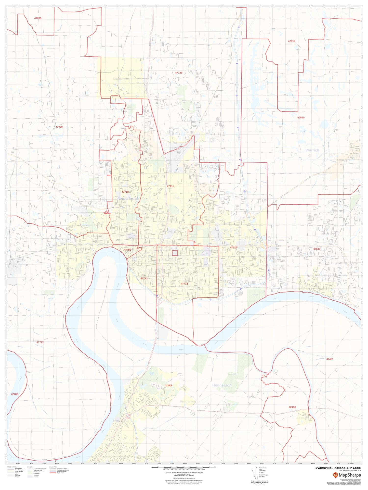 Evansville Zip Code Map : evansville, Evansville, Indiana