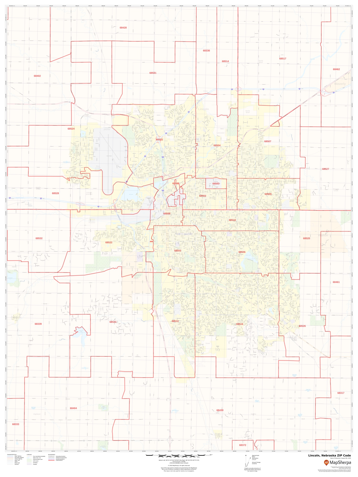 Lincoln Ne Zip Code Map : lincoln, Lincoln