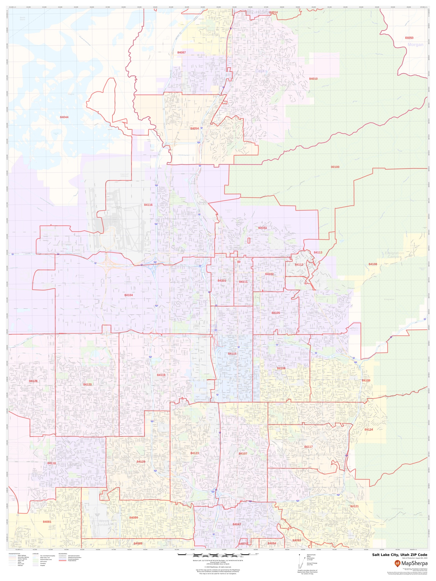 Salt Lake City Zip Code Map : Codes