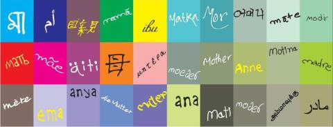 "The word ""MOTHER"" in 30 different languages"