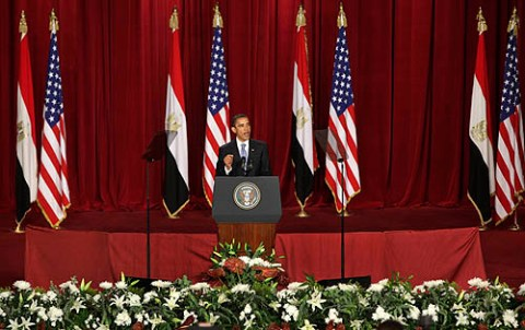 Obama delivering speech at Cairo University