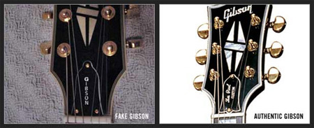 Les Paul falsificada headstock