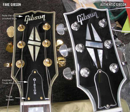 Les Paul falsificada Logo Gibson
