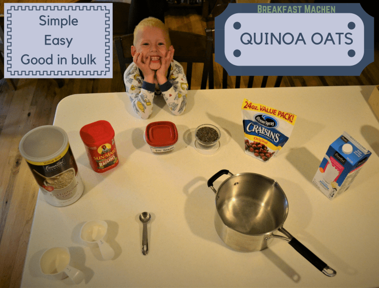 A small boy with the ingredients for making quinoa oatmeal
