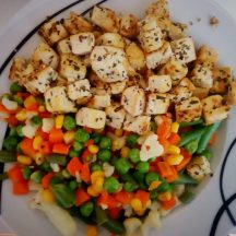 Tofu and veggies (the frozen veggie package promised Brussels sprouts, there was the total of one sprout inside)