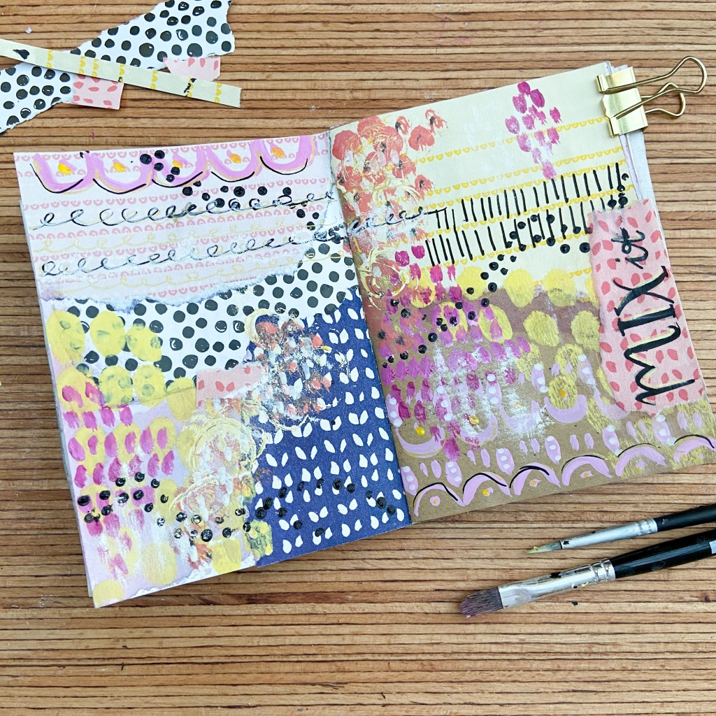 art journal seite, inspiration, muster mix
