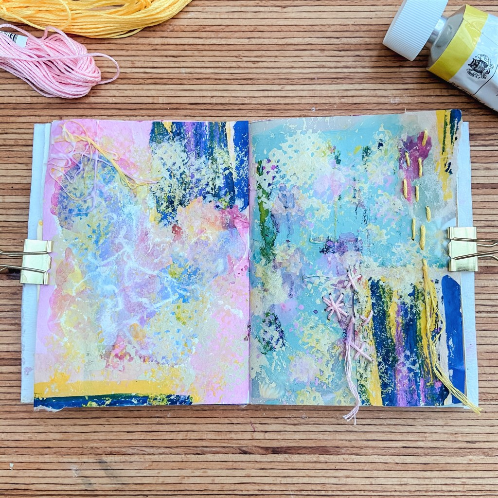 art journal seite, inspiration, bunt
