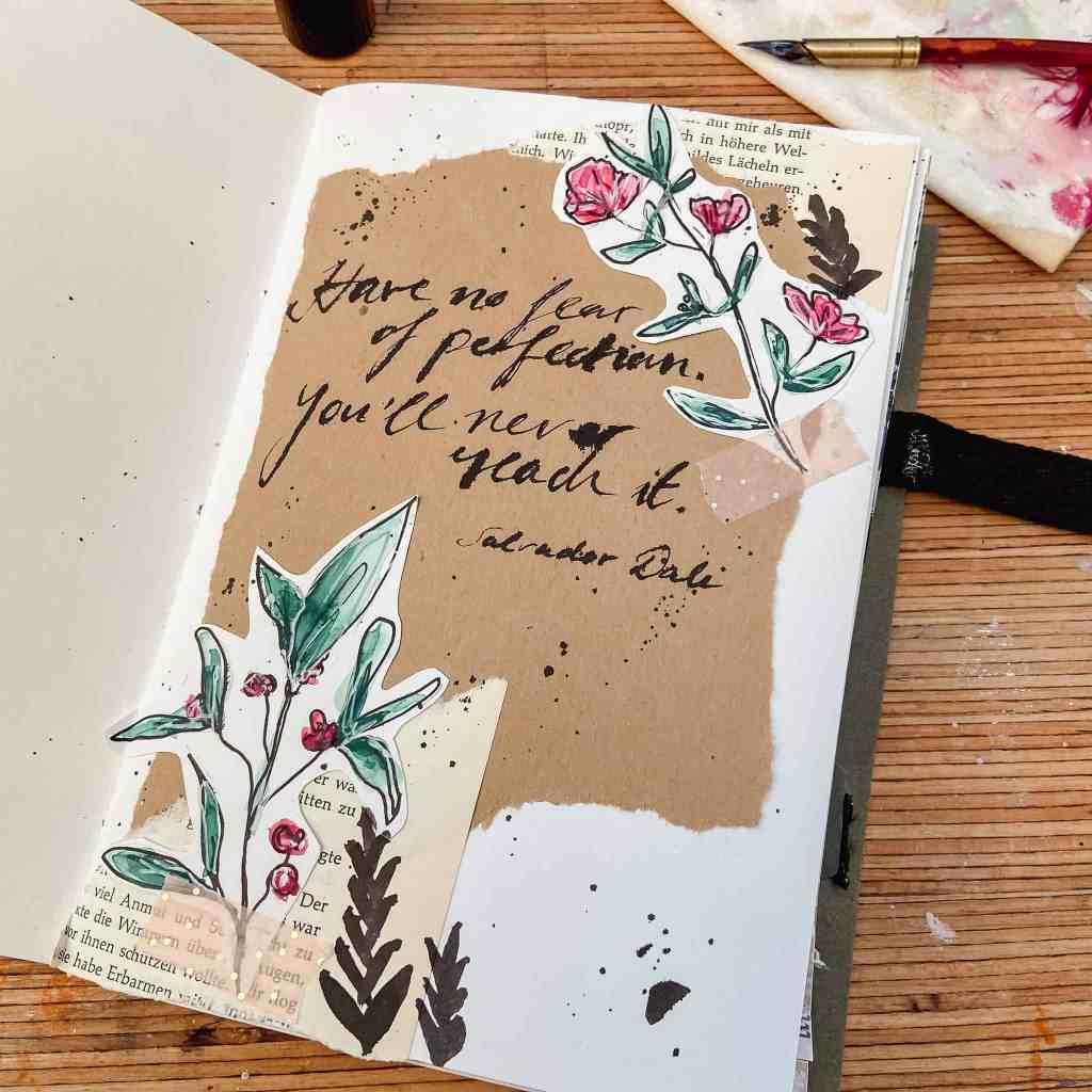 art journaling trifft kalligraphie zitat