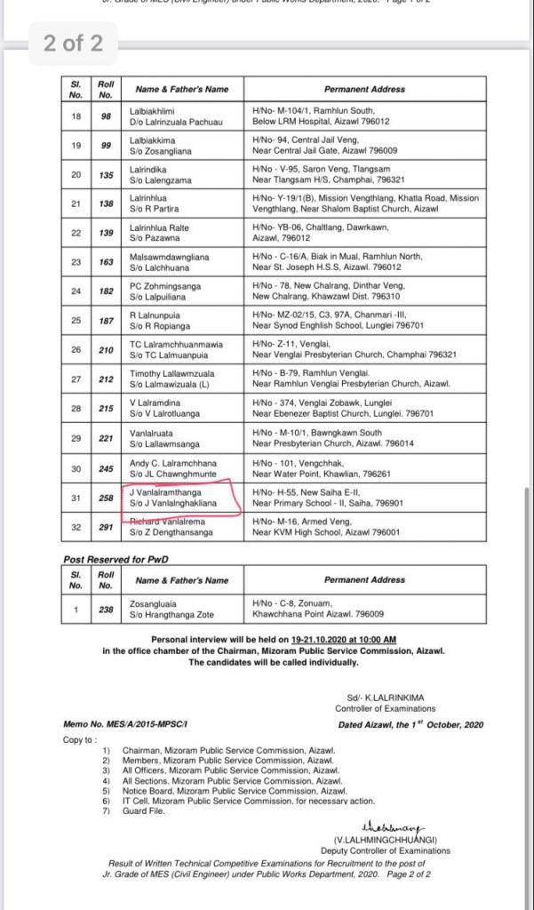 Mizoram Engineering Service exam Result 2020 > Maraland.NET