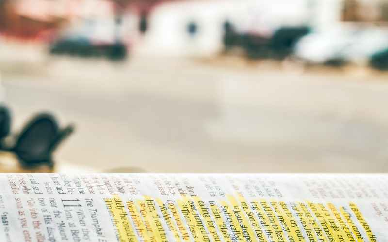 close up photography of bible