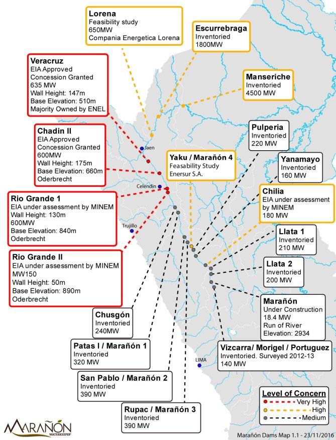 Dams on Maranon. Updated Nov 2016