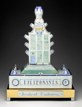 "Mara Superior, ""Tulipomania"", 2009, 31 x 22.25 x 11.75"", high-fired porcelain, ceramic oxides, underglaze, glaze, wood, gold leaf, bone."