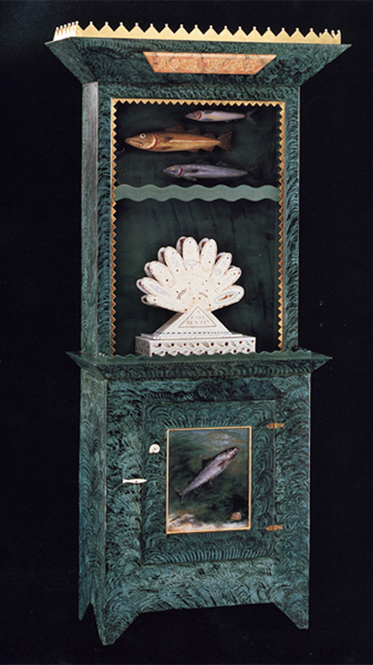 "Roy & Mara Superior, ""Aqua Vitae"", 1995, 84 x 33 x 16"", wood, paint, porcelain,gold leaf,bone,ink, egg tempera painting. Renwick Gallery, Smithsonian American Museum of Art (1996.39A-C)."