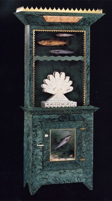 "Roy & Mara Superior, ""Aqua Vitae"", 1995, 84 x 33 x 16"", wood, paint, porcelain,gold leaf,bone,ink, egg tempera painting. Renwick Gallery, Smithsonian American Museum of Art (1996.39A-C)."