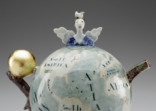 "Mara Superior, ""Beau Monde, Where Shall I Wander"", 2005, 14 x 16 x 16"", high-fired porcelain, ceramic oxides, underglaze, glaze. Kamm Teapot Foundation (2005.60.6)."