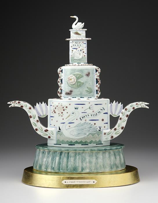 "Mara Superior, ""Mates for Life (A Swan's Wedding Day)"", 2008, 23 x 16 x 10"", high-fired porcelain, ceramic oxides, underglaze, glaze, wood, gold leaf, bone, ink."