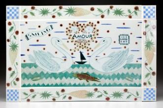 "Mara Superior, ""Amour"", 2008, 12.5 x 19.5 x 3"", high-fired porcelain, ceramic oxides, underglaze, glaze, wood."