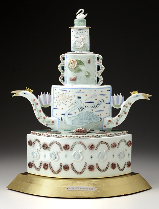 "Mara Superior, ""A Swan's Wedding Day"", 2008, 21 x 16 x 10"", high-fired porcelain, ceramic oxides, underglaze, glaze, wood, gold leaf, bone, ink, brass pins. Renwick Gallery, Smithsonian American Museum of Art (2019.7.1)."