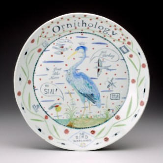 "Mara Superior, ""Ornithology"", 2011, 16 x 16 x 2.5"", high-fired porcelain, ceramic oxides, underglaze, glaze."