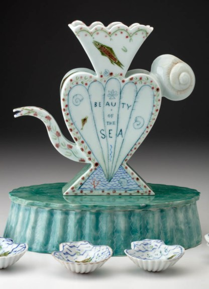 "Mara Superior, ""Beauty of the Sea"", 2013, 11.5 x 10.5 x 6.5"", high-fired porcelain, ceramic oxides, underglaze, glaze, gold leaf."