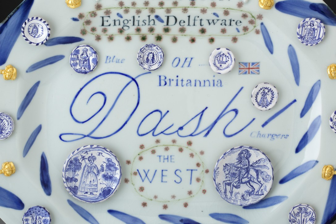 "Mara Superior, ""English Delftware: A Collection of Blue Dash Chargers"", 2016, 12.5 x 16 x 1.5"", high-fired porcelain, ceramic oxides, underglaze, glaze, gold leaf. Everson Museum of Art."
