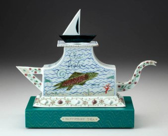 "Mara Superior, ""Nantucket Tea/Rosa Regusa"", 2010, 11.5 x 14.5 x 5.5"", high-fired porcelain, ceramic oxides, underglaze, glaze, wood, paint, bone, brass pins."