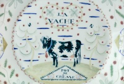 "Mara Superior, ""La Vache Pot de Creme"", 2016, 16.5 x 16.5 x 3"", high-fired porcelain, ceramic oxides, underglaze, glaze."