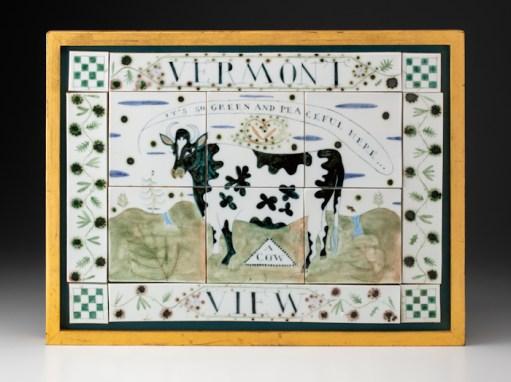 "Mara Superior, ""Vermont View"", 2005, 14.5 x 19.5 x 1.5"", high-fired porcelain, ceramic oxides, underglaze, glaze, wood frame, paint, gold leaf. Bennington Museum of Art (2019. 1.1)."