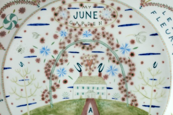 "Mara Superior, ""My June Garden"", 2018, 16 x 16 x 2.25"", high-fired porcelain, ceramic oxides, underglaze, glaze."