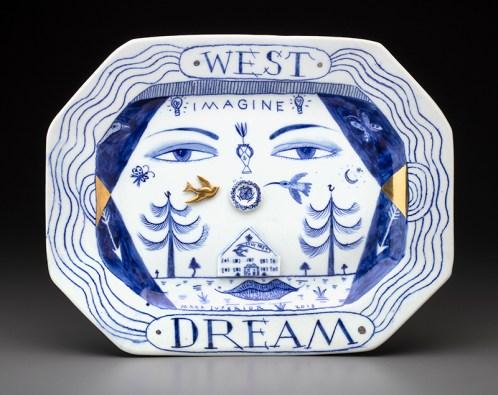"Mara Superior, ""Western Lady Dream Platter"", 2018, 12.25 x 15.5 x 1"", high-fired porcelain, ceramic oxides, underglaze, glaze, gold luster."