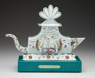 "Mara Superior, ""Nantucket Tea"", 2010, 11 x 13.5 x 6.5"", high-fired porcelain, ceramic oxides, underglaze, glaze."