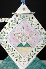 """Mara Superior, """"A Tea Party"""", 1985, 17 x 22.5 x 4"""", high-fired porcelain, ceramic oxides, underglaze, glaze."""
