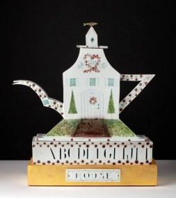 "Mara Superior, ""A Tea House"", 1988, 23 x 21 x 8.5"", porcelain, ceramic oxides, underglaze, glaze, wood, gold leaf."