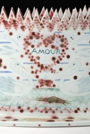 "Mara Superior, ""Amour/Harmony"", 1991, 10.5 x 22 7"", high-fired porcelain, ceramic oxides, underglaze, glaze."
